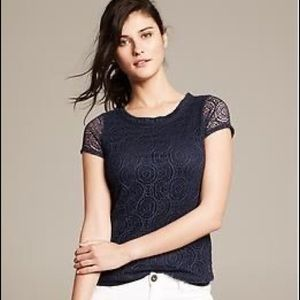 New Banana Republic Lace Top Navy Blue